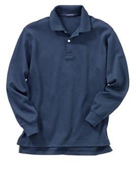 eee8e636f Wholesale Girls Long Sleeve School Uniform Polo Shirt in Navy Blue ...