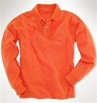 Wholesale Girls Long Sleeve School Uniform Polo Shirt Orange