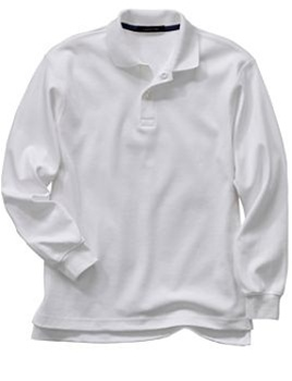 6675e66b4 Wholesale Girls Long Sleeve School Uniform Polo Shirt in White ...