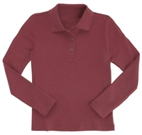 Wholesale Girls Long Sleeve Knit Polo with Picot Collar in Burgundy
