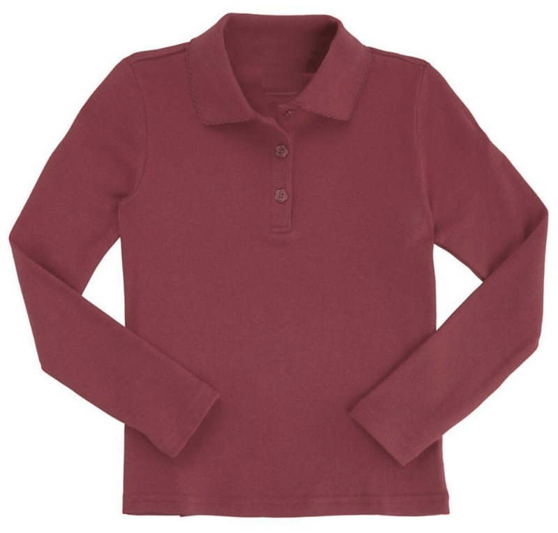cef64a5a Wholesale Girls Long Sleeve Knit Polo with Picot Collar in Burgundy