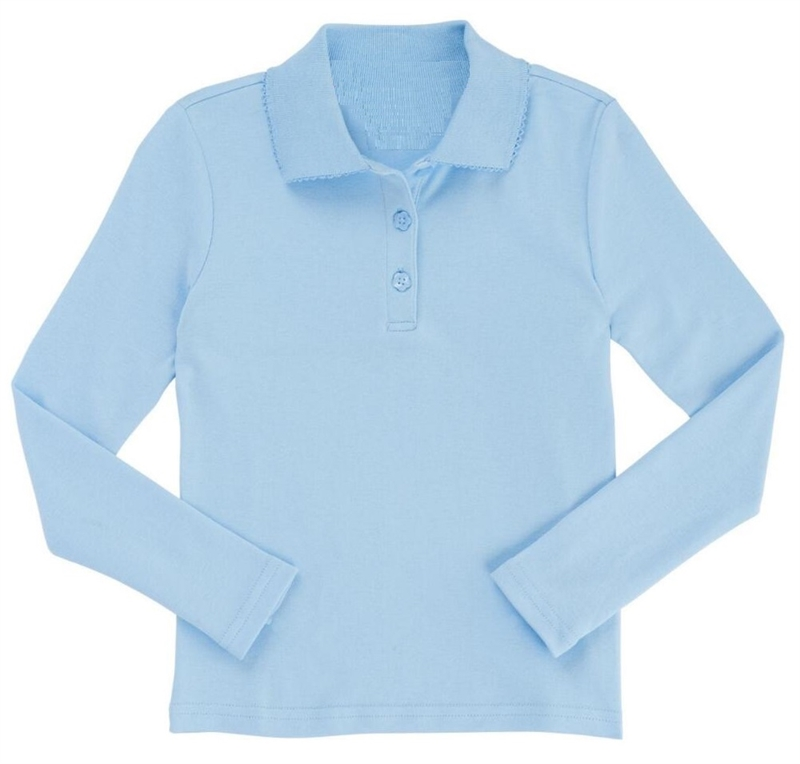 5fff7838 Wholesale Girls Long Sleeve Knit Polo with Picot Collar in Light Blue
