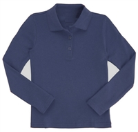 Wholesale Girls Long Sleeve Knit Polo with Picot Collar in Navy