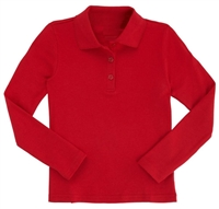 Wholesale Girls Long Sleeve Knit Polo with Picot Collar in Red