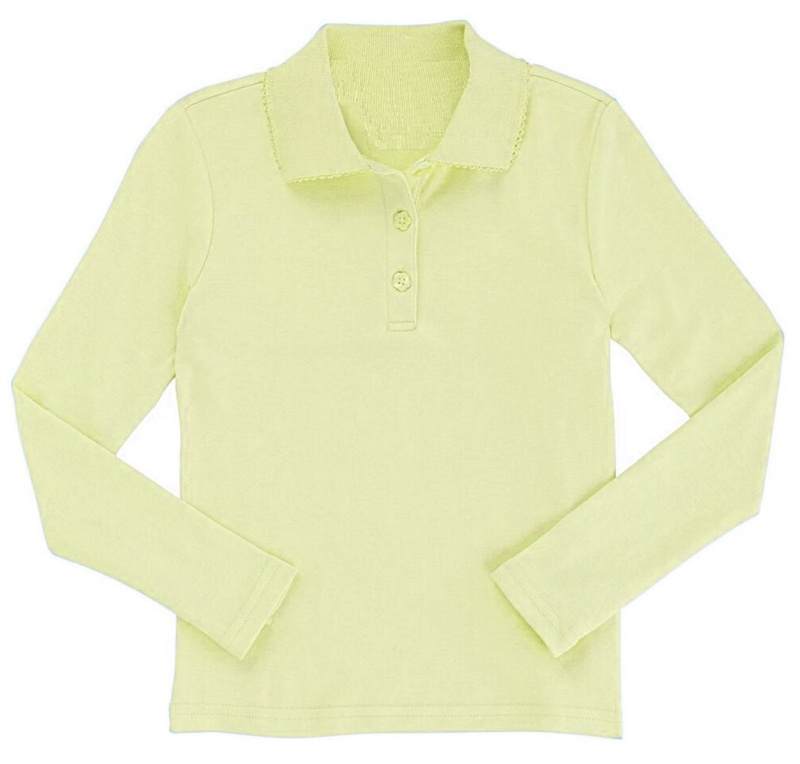 a4e67692 Wholesale Girls Long Sleeve Knit Polo with Picot Collar in Yellow