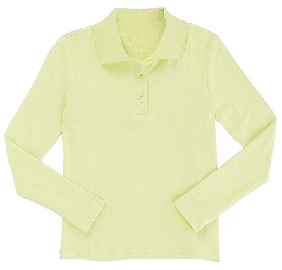 Wholesale Girls Long Sleeve Knit Polo with Picot Collar in Yellow