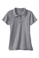 Wholesale Girls School Uniform Short Sleeve Jersey Knit Polo Shirt in Grey
