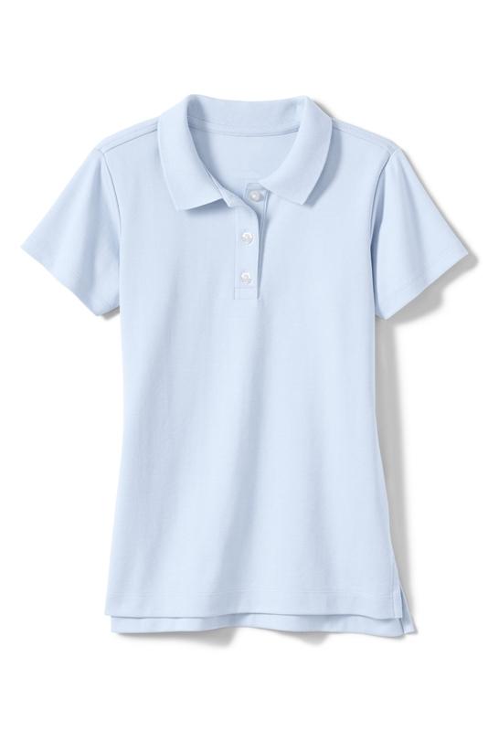 Wholesale Girls Short Sleeve Jersey Knit Polo in Light Blue
