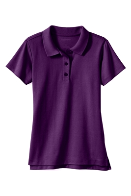 Wholesale Girls School Uniform Short Sleeve Jersey Knit Polo Shirt in Purple