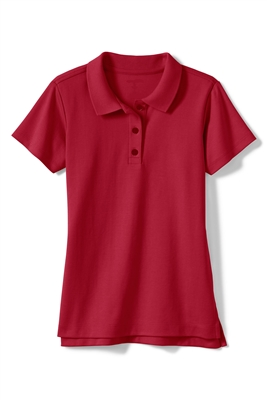 Wholesale Girls Short Sleeve Jersey Knit Polo in Red