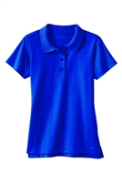 Wholesale Girls School Uniform Short Sleeve Jersey Knit Polo Shirt in Royal Blue