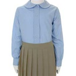 Wholesale Girl's Long Sleeve Peter Pan Collar Blouse Uniform Shirt in Blue by Size