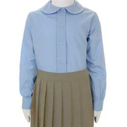 ebc619662 Wholesale Girl's Long Sleeve Peter Pan Collar Blouse Uniform Shirt in Blue  by Size