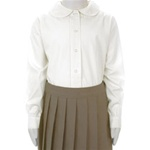 Wholesale Girl's Long Sleeve Peter Pan Collar Blouse Uniform Shirt in White by Size