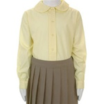 Wholesale Girl's Long Sleeve Peter Pan Collar Blouse Uniform Shirt in Yellow by Size