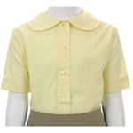 Wholesale Girl's Short Sleeve Peter Pan Collar Blouse Uniform Shirt in Yellow by Size