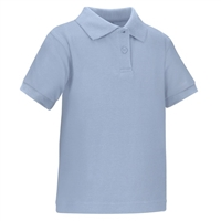 Wholesale Toddler Short Sleeve School Uniform Polo Shirt Light Blue by size