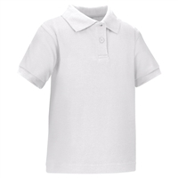 Wholesale Toddler Short Sleeve School Uniform Polo Shirt White by size